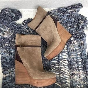 Chloe Suede Wedge Ankle Boots